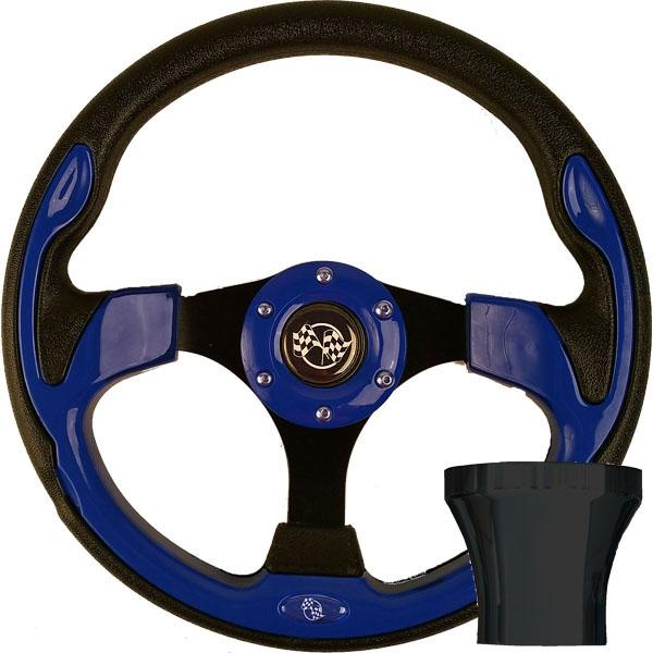 Club Car DS Blue Rally Steering Wheel Black Adapter Kit (Fits 1982-Up)
