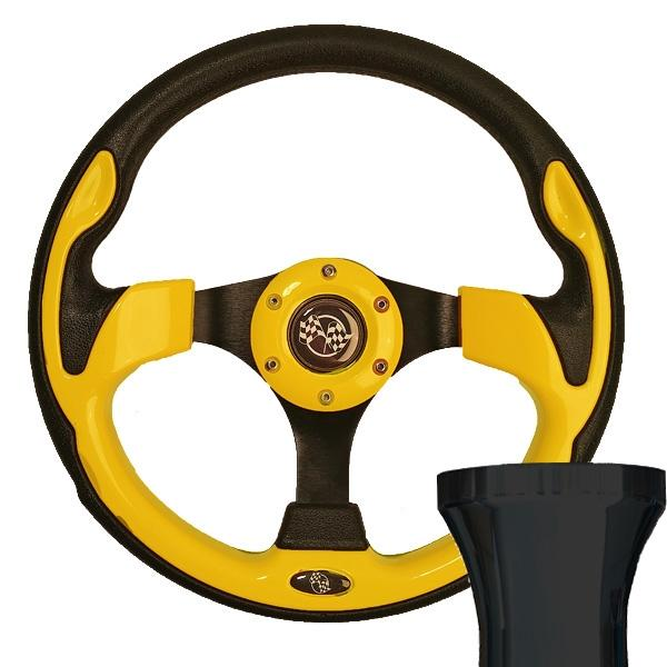 Club Car DS Yellow Race Steering Wheel Black Adapter Kit (Fits 1982-Up)