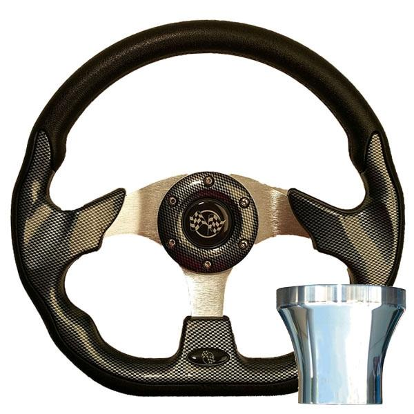 Club Car DS Carbon Fiber Racer Steering Wheel Chrome Kit (Fits 1982-Up)