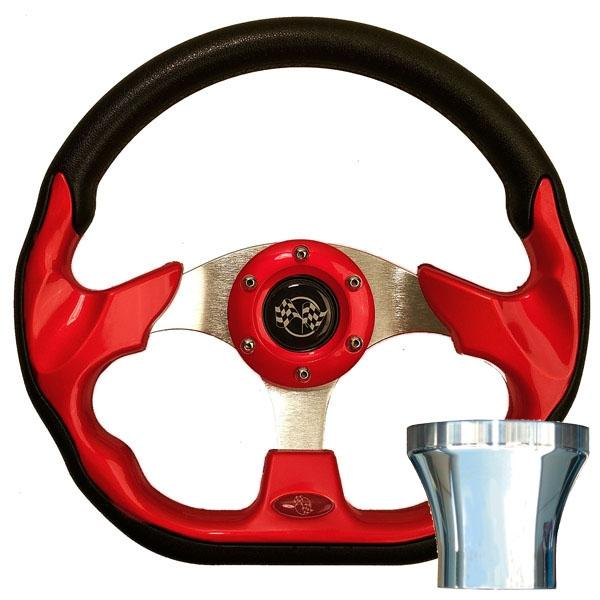 Club Car Precedent Red Racer Steering Wheel Chrome Kit (Fits 2004-Up)