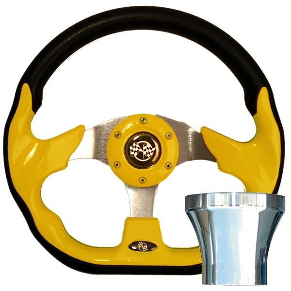 Club Car DS Yellow Racer Steering Wheel Chrome Adapter Kit (Fits 1982-Up)