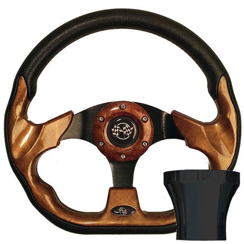 Club Car Precedent Woodgrain Racer Steering Wheel Black Kit (Fits 2004-Up)