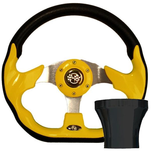 Club Car Precedent Yellow Racer Steering Wheel Black Adapter Kit (Fits 2004-Up)
