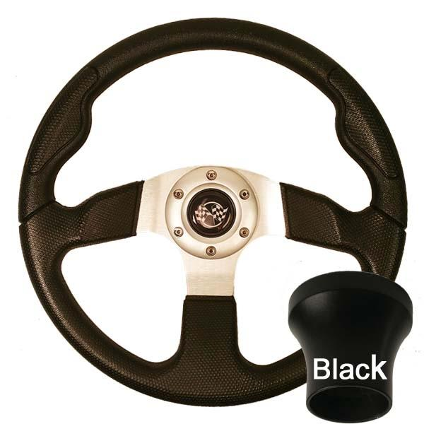 Club Car DS Black Sport Steering Wheel Black Adaptor Kit (Fits 1982-Up)