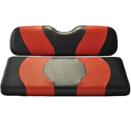 Madjax Wave Black/Red Two-Tone Club Car DS Front Seat Covers (Fits 2000-Up)