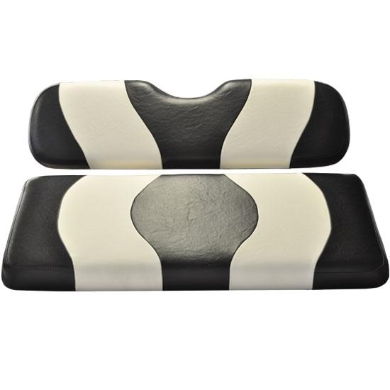 Madjax Wave Black/White Two-Tone Club Car DS Front Seat Covers (Fits 2000-Up)