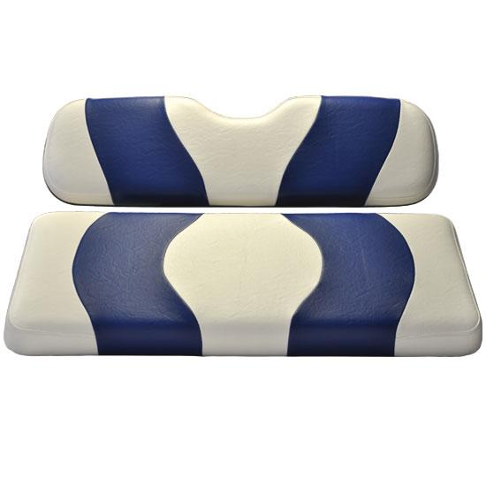 Madjax Wave White/Blue Two-Tone Club Car DS Front Seat Covers (Fits 2000-Up)