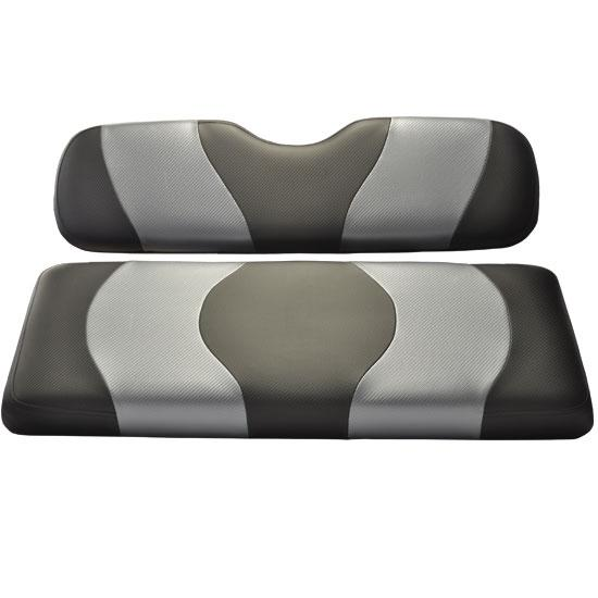 Madjax Wave Black/Dark Gray Carbon Two-Tone Yamaha Drive Front Seat Covers (Fits 2008-Up)