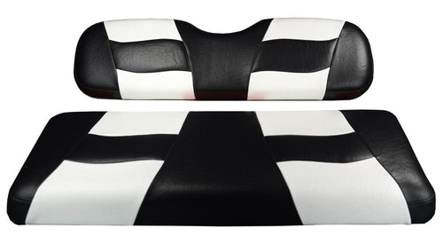 Madjax Riptide Black/White Two-Tone Club Car DS Front Seat Covers (Fits 2000-Up)