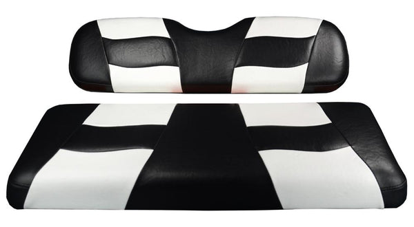 Madjax Riptide Black/White Two-Tone Yamaha Drive Front Seat Covers (Fits 2008-Up)