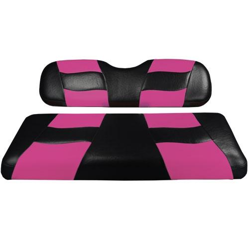 Madjax Riptide Black/Pink Two-Tone Club Car DS Front Seat Covers (Fits 2000-Up)