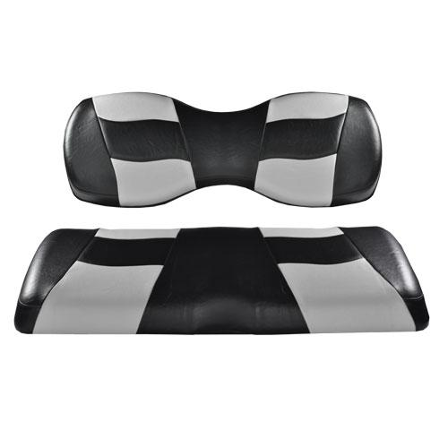 Madjax Riptide Black/Sliver Two-Tone Club Car Precedent Front Seat Covers (Fits 2004-Up)