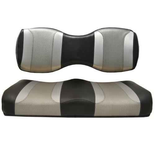 Madjax Tsunami Black Liquid Silver W/ Silver Rush Custom Rear Seat Cushion Assembly (Fits Genesis 250 / 300)