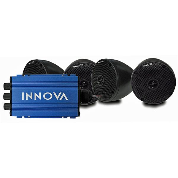 INNOVA Set of 4 Cone Speakers and 4-Channel Mini-Amp with Bluetooth (Universal Fit).