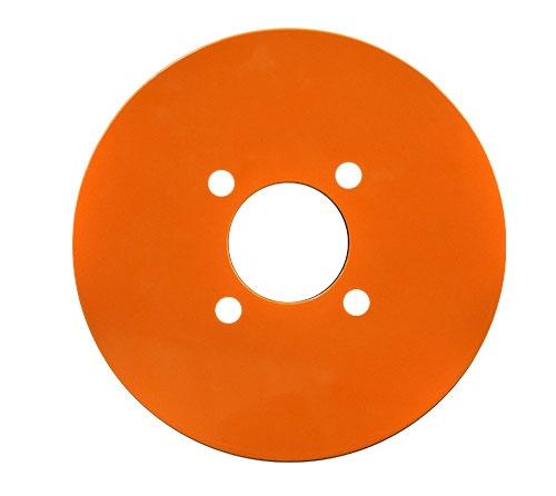 "Set of (4) Madjax Orange Aluminum Wheel Plates (Fits 12"" / 14"")"