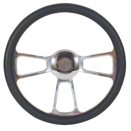STEERING WHEEL, BILLET TRIKE BLACK
