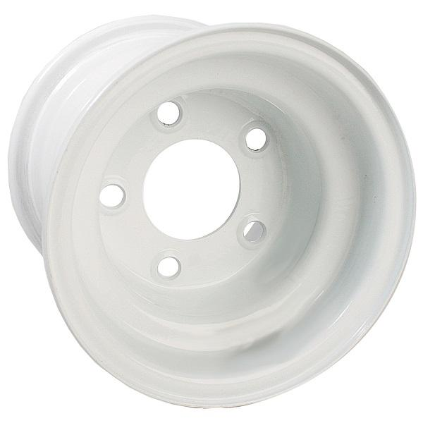 8x3.75 White Steel Wheel, Centered (5 Hole)