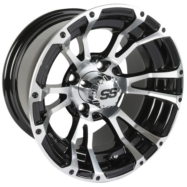 12X6 Machined/Black Typhoon Wheel (2.5+3.5 Offset)