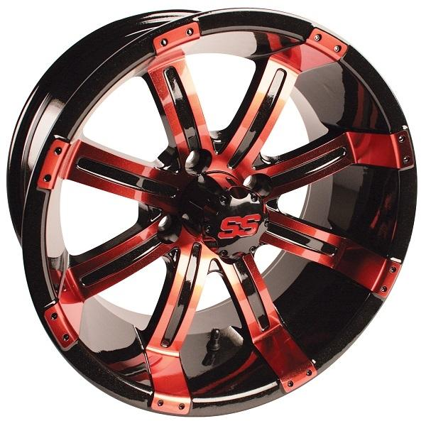 14X7 Tempest Red/Black Wheel W/SS Cap (3:4 Offset)