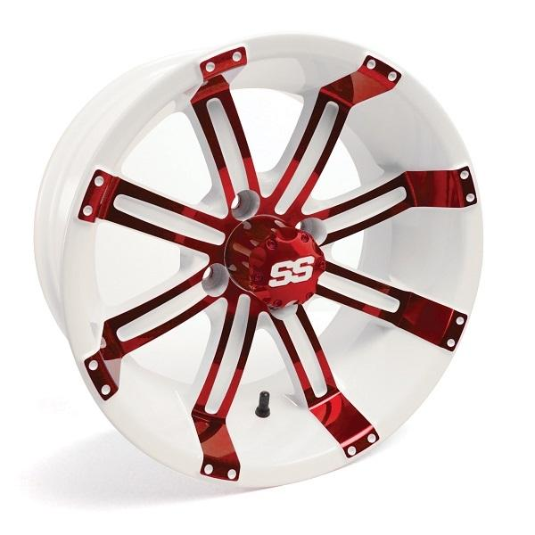 10X7 Tempest Red/White Wheel W/SS Cap (3:4 Offset)