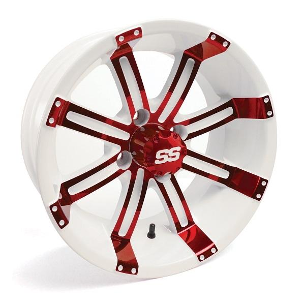14X7 Tempest Red/White Wheel W/SS Cap (3:4 Offset)
