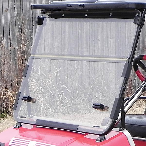 Clear Club Car Hinged Windshield W/ Black Hinge - 1/4'' (Years 1982-1999)