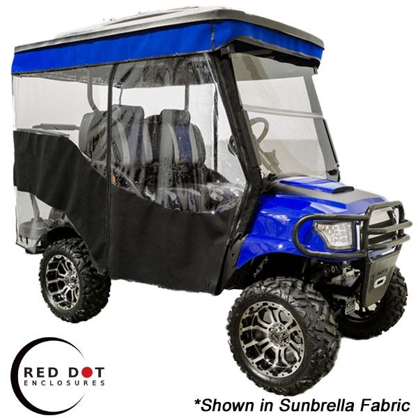 Red Dot 3-Sided Sunbrella Stock Enclosure & Stripe Valance for Yamaha G29/Drive Triple Track 84