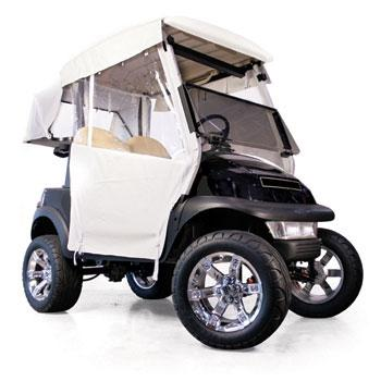 Club Car DS 2-Passenger Red Dot 3-Sided White Vinyl Enclosure (Years 2000-Up)