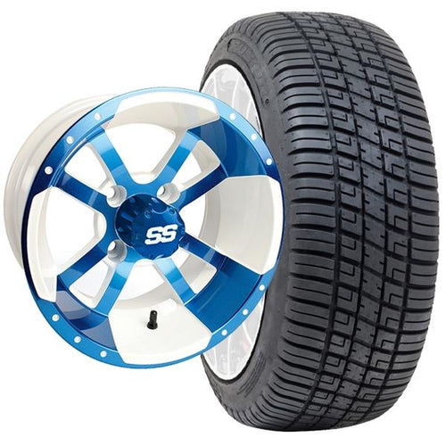 "Set of (4) 10"" Storm Trooper White & Blue Wheels on Lo-Pro Tires"