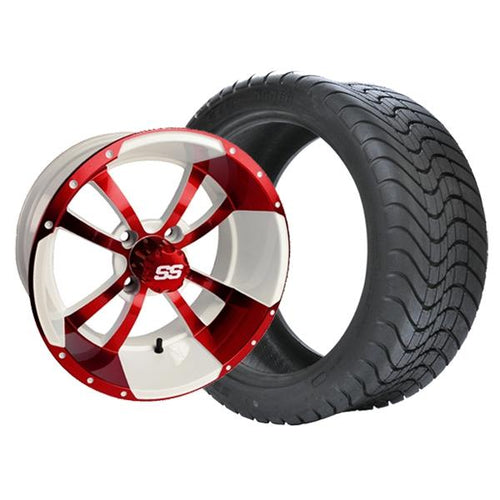 "Set of (4) 10"" Storm Trooper White & Red Wheels on Lo-Pro Tires"