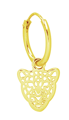 Single ring earring Leopard Head