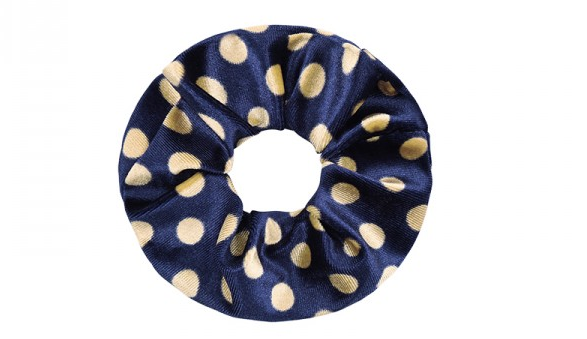 Scrunchie Velvet-Dots Blue