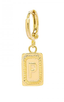 Single ring earring Initial P