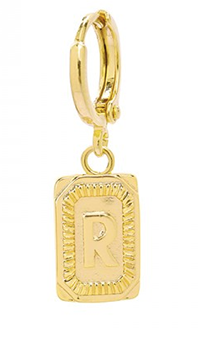 Single ring earring Initial R