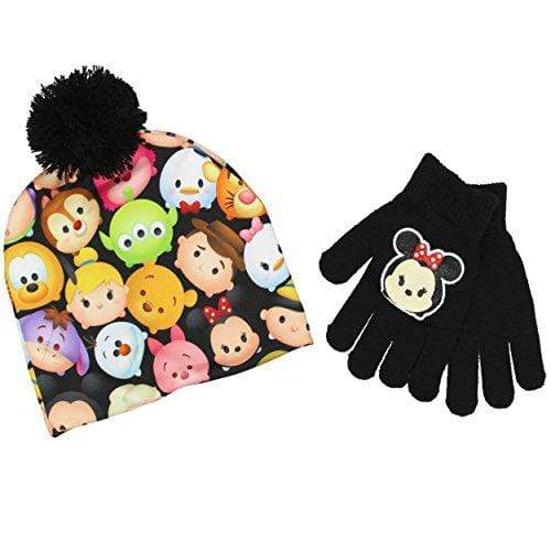 Disney BACKPACK Tsum Tsum Youth Beanie Hat and Gloves Set (One Size, Minnie Black)