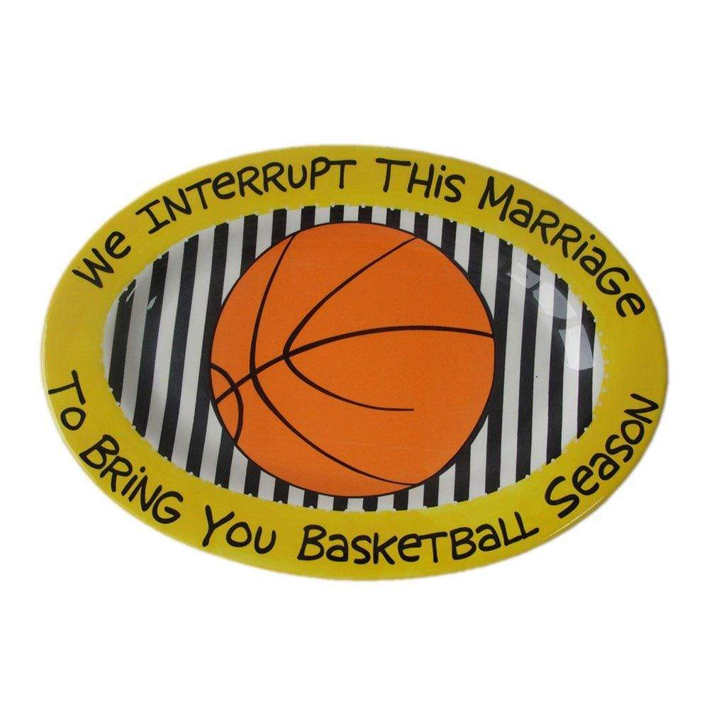 Enesco Kitchen Our Name Is Mud by Lorrie Veasey Basketball Oval Platter, 1.125-Inch
