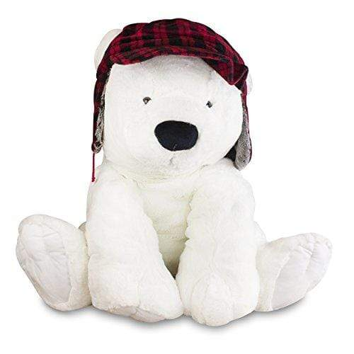 Gitzy TOY_FIGURE Gitzy Jumbo Polar Bear with Hunting Hat - Plush Teddy Bear - Large Stuffed Animal - 2.5 Feet Tall