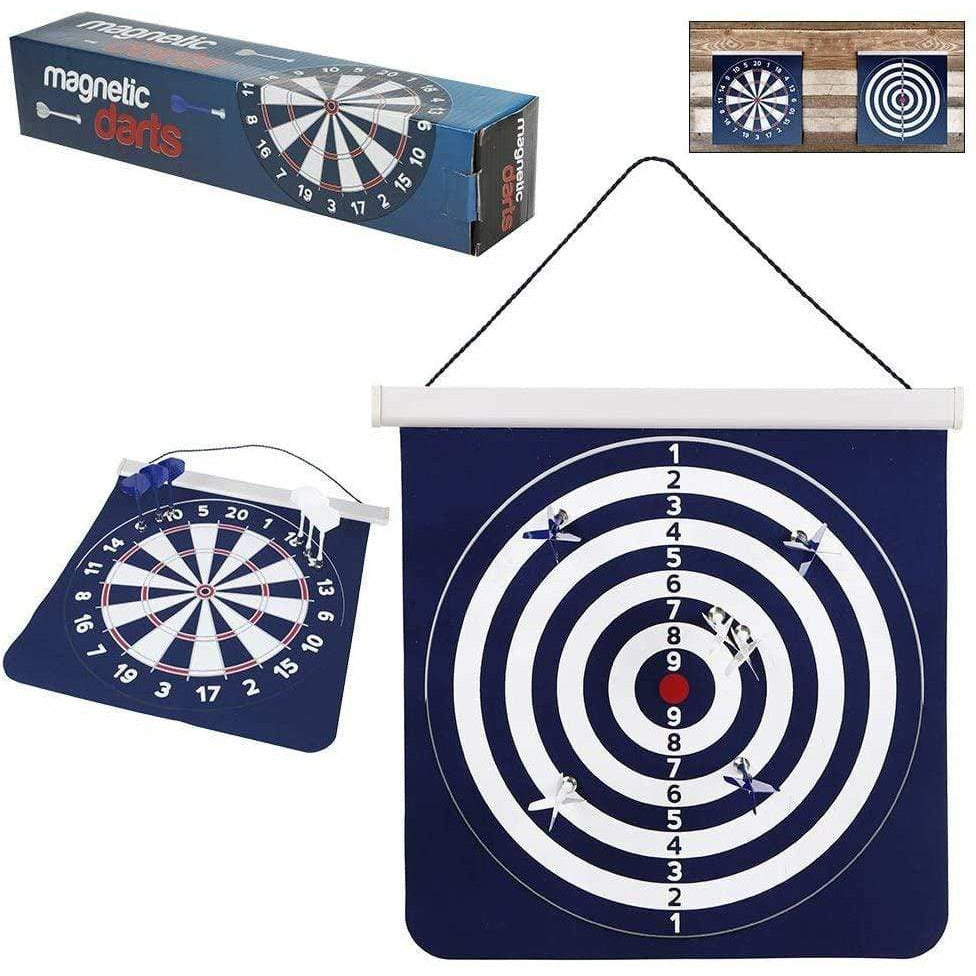 KidSource Toy Martinex Magnetic Darts Game - Hanging Dart Board with Two-Sides for Traditional and Competition Play - includes 6 Darts - Rolls Up for Easy Storage and Travel