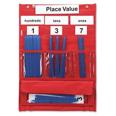 Learning Resources OFFICE_PRODUCTS Counting and Place Value Pocket Chart with Cards, Straws, 13 x 17 3/4