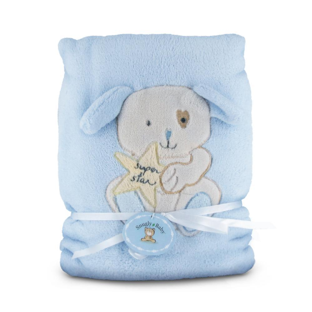 Plushible 40in Snuggly Baby Blue Fleece Baby Blanket with Puppy