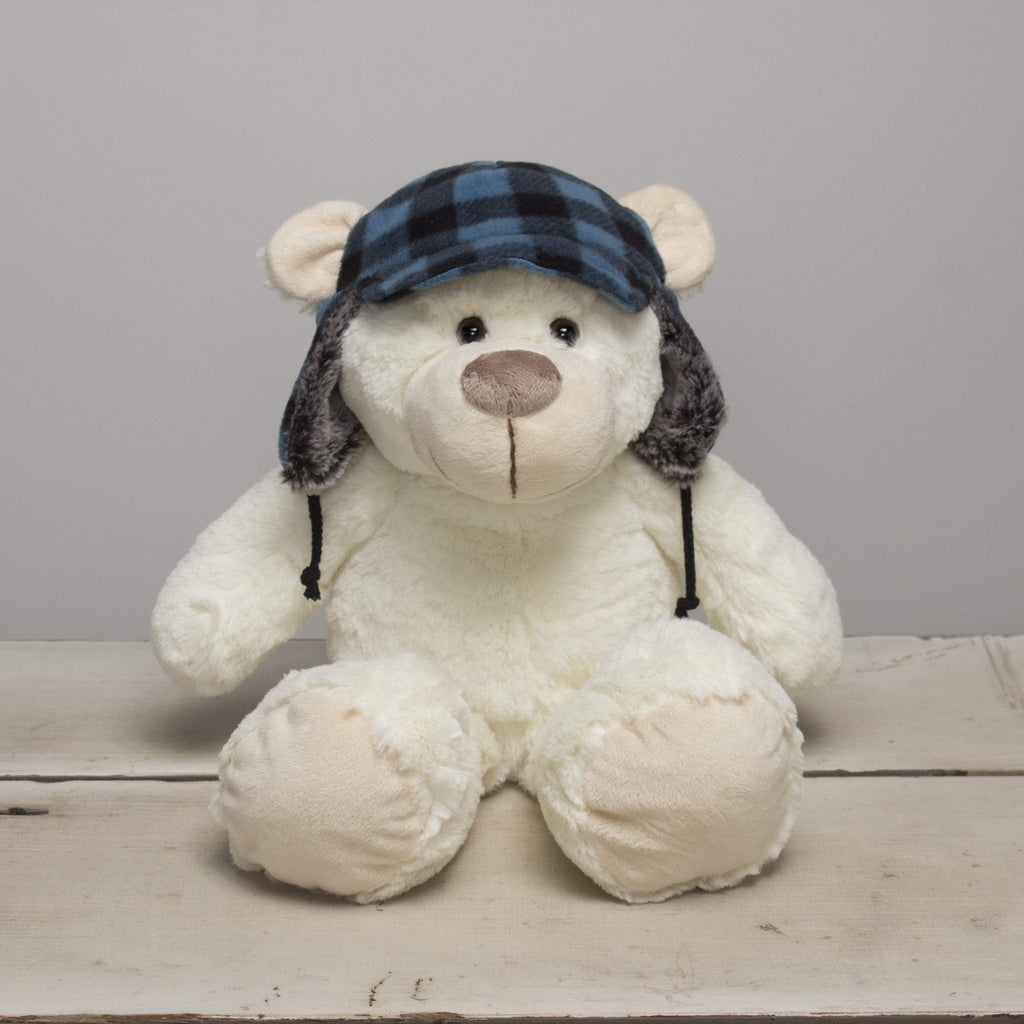 "Plushible ""Bonnie"" the 11in Winter White Plush Bear with Blue Plaid Hat by Gitzy"