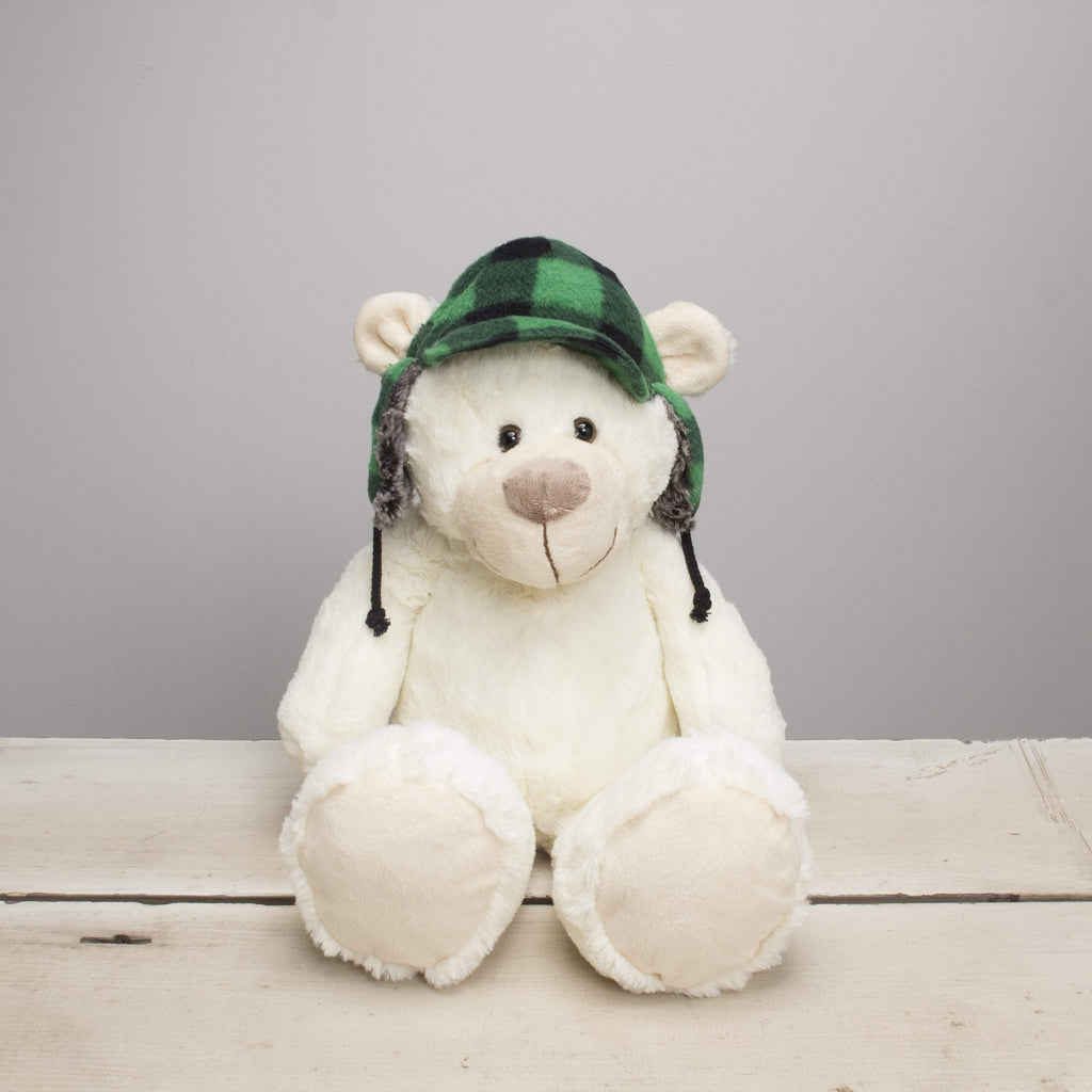 "Plushible Donnie"" the 11in Winter White Plush Bear with Green Plaid Hat by Gitzy"""