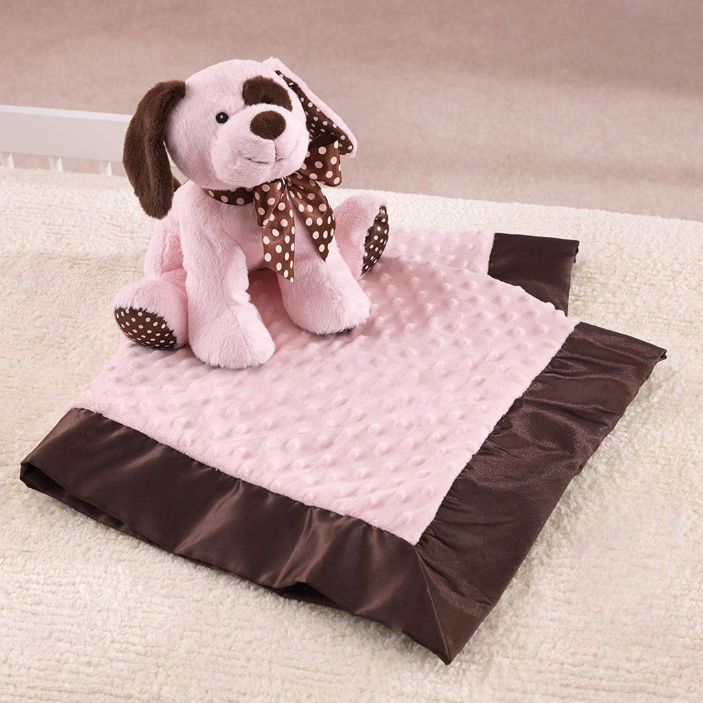 "Plushible Plush ""Winky"" the 10.5in Pink Plush Puppy and Blanket Set by KidKraft"
