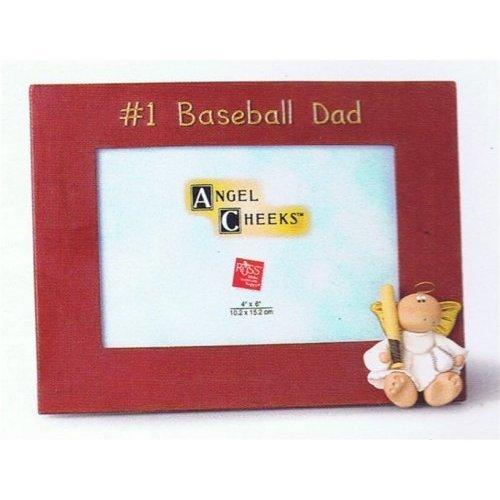 "Russ Berrie HOME Russ Berrie Father's Day #1 Baseball Dad Picture Frame - 4"" x 6"" Standing and Hanging Photo Frame for Dads"