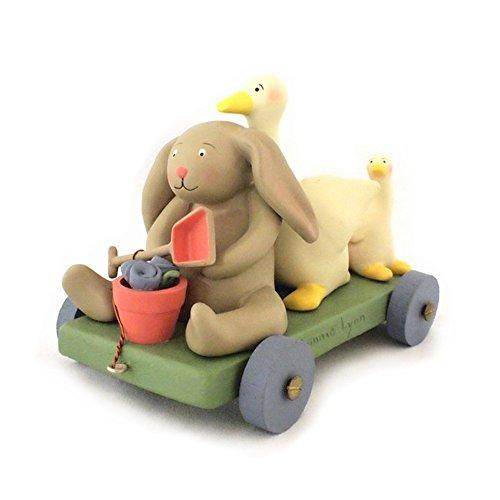 Russ Berrie TOY_FIGURE Springhaven Lake Figurine Bunny and Duck Wagon by Russ - Bunny and Rabbit for Easter and Springtime Decorations