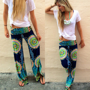 Floral Casual Wide Leg Long Harem and High Waist Loose Elastic Waist Palazzo Pants