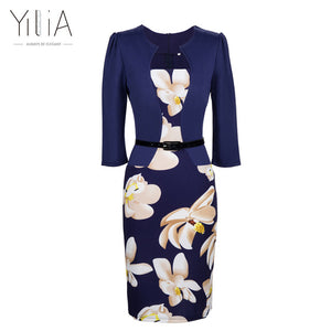Floral Print Elegant Business Party and  Formal Office  Dress