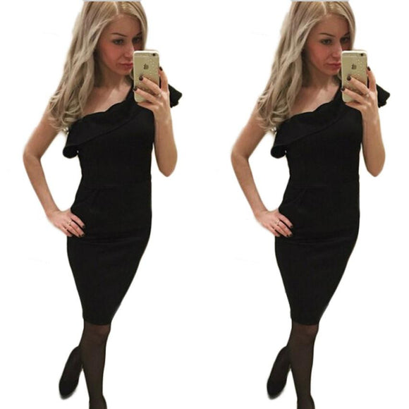 JECKSION Sexy Package Hip Women Dress 2016 Fashion Black Party Dresses Slim Oblique One Shoulder Dress For Lady Work #LSW
