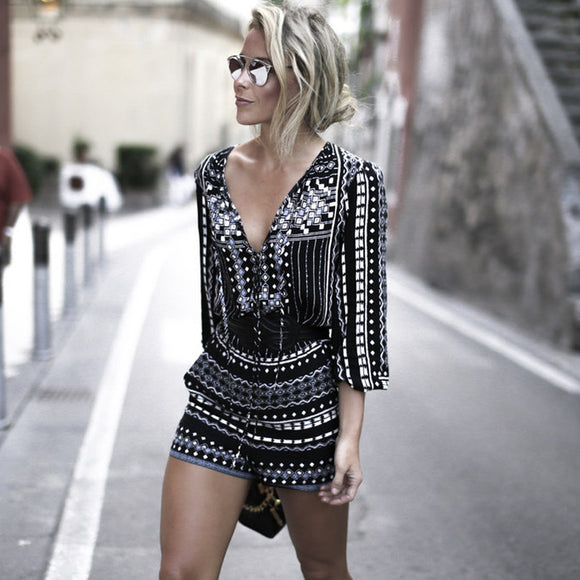 Fashion  Vintage Printed V Neck Sexy Jumpsuit