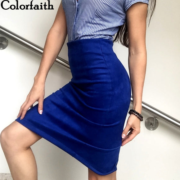 Women Winter Solid Suede Hip Pencil Midi Skirt